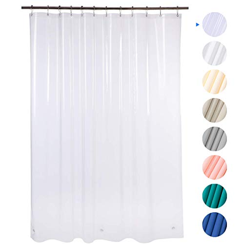 Amazer 72' W x 72' H EVA 8G Shower Curtain with Heavy Duty Clear Stones and 12 Grommet Holes Waterproof Thick Bathroom Plastic Shower Curtains Without Chemical Odor-Clear