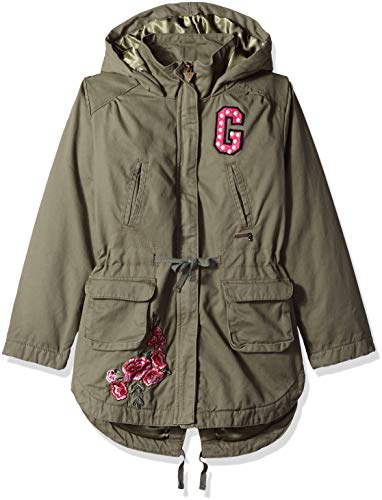 GUESS Girls' Big Long Sleeve Hooded Embroidered Parka Jacket, deep Jungle, 7