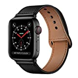 KYISGOS Compatible with iWatch Band 44mm 42mm, Genuine Leather Replacement Band Strap Compatible with Apple Watch Series 5 4 3 2 1 42mm 44mm, Black