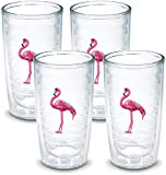 Tervis Tumbler Flamingo 16-Ounce Double Wall Insulated Tumbler, Set of 4