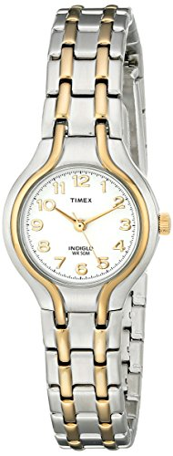 41Z9RGzy CL Elegant two-tone bracelet watch featuring easy-to-read dial with Arabic numerals and Indiglo nightlight 25 mm stainless steel case with mineral dial window Quartz movement with analog display