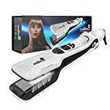 Steam Hair Straightener, Salon Professional Nano Titanium Ceramic Steam Flat Iron Hair Styler with Removable Teeth Comb + Digital LCD + 5 Level Adjustable Temperature + Auto Temperature Lock -White