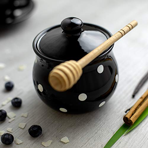 Black Polka Dot Honey Bowl