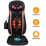 Shiatsu Back Massager Massage Chair Pad with Heat, Full Back Kneading, Adjustable Neck Height and Vibration - Relieve Muscle Pain for Neck Shoulder Back and Hip - Home & Office Use
