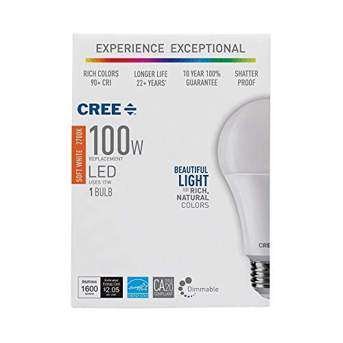 (3-Pack) Cree LED 100W Equivalent Soft White (2700K) Light Bulb, A21, Dimmable, CRI 90
