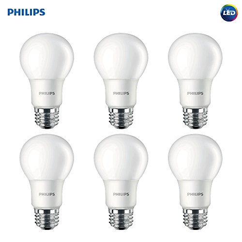 Philips LED 459024 Non-Dimmable Frosted 800-Lumen, 2700-Kelvin, 8.5, E26 Base, Soft White, 6-Pack Philips 60 Watt Equivalent A19 LED Light Bulb,