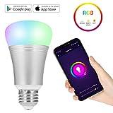NEXGADGET Bombilla LED Wifi Inteligente Multicolor Smart Control de Voz 7W RGB Smartphone App Control con Alexa y Google Hogar para la Decoración del Hogar, Escenario, Bar, Fiesta etc