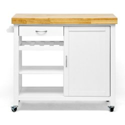 Baxton Studio Denver Modern Kitchen Cart/Island with Butcher Block Top, Natural, White