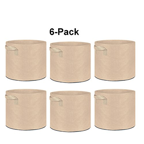 TopoGrow 6-Pack 30 Gallon Grow Bags Tan Fabric Round Aeration Pots Container for Nursery Garden and Planting Grow (30 Gallon, Tan(6-Pack))