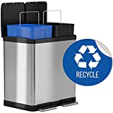 iTouchless 16 Gallon Dual Step Trash Can & Recycle Bin, Stainless Steel includes 2 x 8 Gallon (30L) Removable Buckets with Handles, Soft-close and Airtight - Recycle Decal included