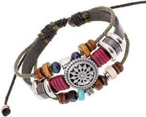 Trenro Women Lady Bohemia Wind Beaded Multilayer Hand Woven Bracelet Jewelry