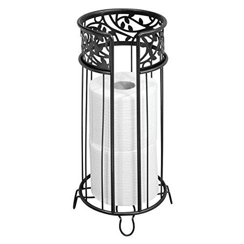 mDesign Decorative Free Standing Toilet Paper Holder Stand Storage 3 Rolls Toilet Tissue Bathroom/Powder Room - Holds Mega Rolls - Durable Metal Wire - Matte Black