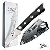 ZELITE INFINITY Bird's Beak Paring Knife 2.75 Inch | Razor-Edge Series | Japanese AUS8 High Carbon Stainless Steel | Pakkawood Handle | Leather Sheath