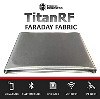 "TitanRF Faraday Fabric // EMI Shielding, RFID Shielding, Cell Phone Block, WiFi Block, Bluetooth Block. MILITARY GRADE SHIELDING FABRIC (44"" x 36""/11sq. ft./1.22 Sq. Yds.) + 12""L CONDUCTIVE ADHESIVE"