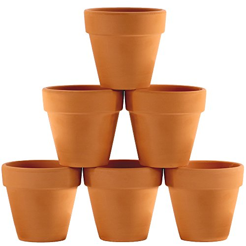Winlyn 6 Pcs Terracotta Pot Clay Pots 4'' Clay Ceramic Pottery Planter Cactus Flower Pots Succulent Pot Drainage Hole- Great for Plants,Crafts,Wedding Favor Indoor/Outdoor Plant Crafts