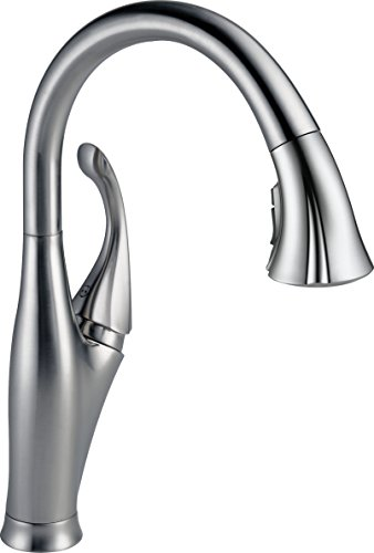 Delta Faucet Addison Single-Handle Kitchen Sink Faucet with Pull Down Sprayer, ShieldSpray Technology and Magnetic Docking Spray Head, Arctic Stainless 9192-AR-DST