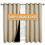 RYB HOME 100% Blackout Curtains Full Shading Drapes for Bedroom Super Soft Panels with Liner Layers Sunlight/UV Blocking for Shift Worker/Daytime Sleeper, 52 x 63 inch, Cream Beige, One Pair