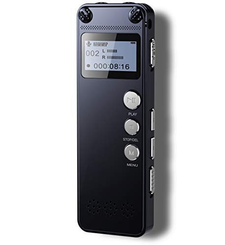 Tschisen Digital Voice Recorder,Metal Body,1536kbps HD Audio Dictaphone with Playback,145-hour Recording,Noise Reduction,Auto Activation,MP3,Rechargeable Battery for Meeting/Lecture/Interview/Class