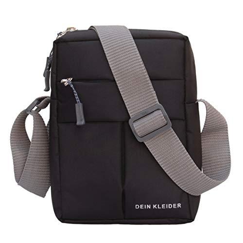 Dein Kleider Nylon Sling Cross Body Travel Office Business Messenger one Side Shoulder Pouch Bag for Men and Women (Black)