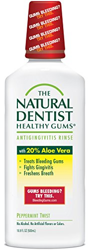 The Natural Dentist Healthy Gums  Antigingivitis Mouthwash to Prevent and Treat Bleeding Gums and Fight the Gum Disease Gingivitis - Peppermint Twist flavor 16.9 fl oz (500 ml)