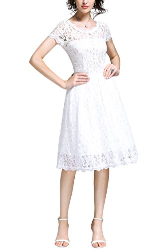 41ZrDjzT26L Scoop Neck,Floral Lace Contrast,Cap Sleeve. Elegant See Though Design,Deep -V Neck Cutting On the Back. Lace Swing Edge Style,Slim Waist Fitting.