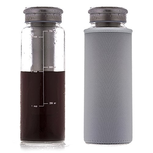 Eilde Cold Brew Coffee Maker, Iced Tea Brewing Carafe, Fruit Infuser Water Bottle, Airtight Seal Glass, 24 Ounce'