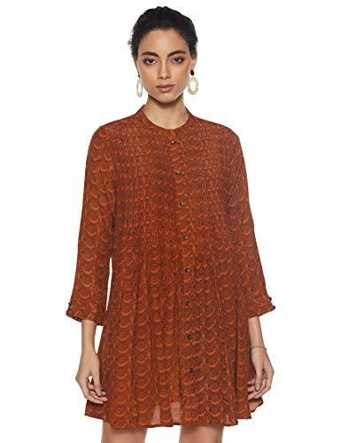 Label RITU KUMAR Mandrain Collar 3/4 Sleeves Short Dress