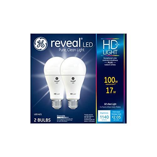 GE Lighting 92986 Light Reveal HD Dimmable LED A15 Ceiling Fan Bulb 17-Watt (100-Watt-Replacement), 1140-Lumen Medium Base, 2-Pack, Piece