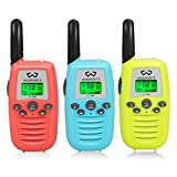 WOSPORTS Kids Walkie Talkies, 3 Pack Two Way Radios with Belt Clip, 3 KM Range Children Toy for Outdoor Adventures Game, Camping, Hiking