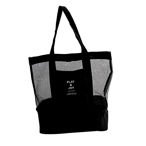 Dolland Mesh Beach Tote Bag 2-in-1 Drinking Cooler Family Shoulder Handbag(Black)