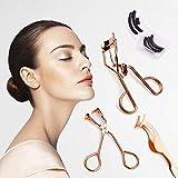 Eyelash Curler, Makeup Tools Set with Partial Eyelash Curler, Mini Slant Tweezer & Silicone Refill Pads