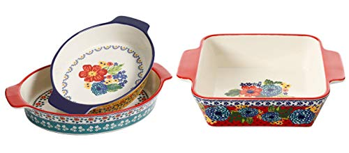 The Pioneer Woman Fiona Floral 2-Piece Oval Bakers bundle with The Pioneer Woman Dazzling Dahlias 8-Inch Square Baker