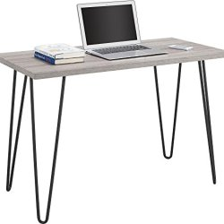 Ameriwood Home Owen Retro Desk with Metal Legs Weathered Oak