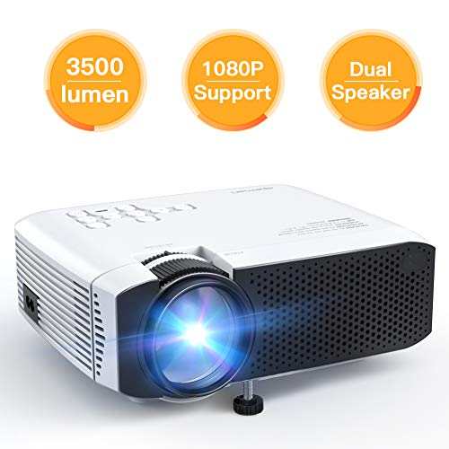 Projector APEMAN Mini Portable Video Projector 3500 Lumen LED with Dual Built-in Speakers 45000 Hours Support HD 1080P HDMI/VGA/Micro SD/AV/USB, Laptop/TV Box/Phone/PS4 for Home Theater Entertainment