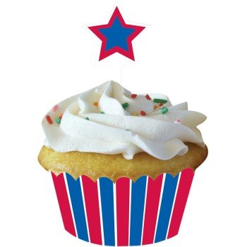 Patriotic Stars Cupcake Wrappers w/Picks -2.25