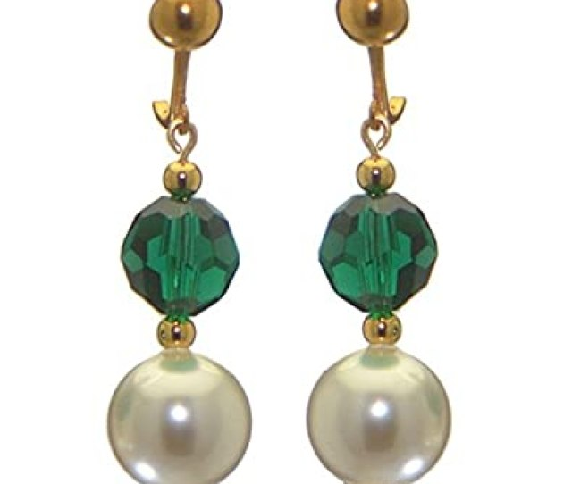 Amazon Com Alexia Gold Plated Emerald Green White Faux Pearl Clip On Earrings Jewelry