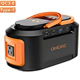 OMORC 222Wh 60000mAh Portable Power Stations 4 USB (Quick Charger 3.0 &Type C), 4 DC Ports, 300W(Peak) AC Outlets,LED Lights,Solar Portable Generators Battery Backup for CPAP Camping Fishing