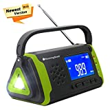 Emergency NOAA Weather Crank Solar Powered Portable Radio with 2000mAh Battery Power for Cell Phone, Bright Flashlight for Household Emergency and Outdoor Survival (097-Green)
