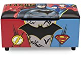 DC Comics Justice League Upholstered Storage Bench for Kids | Perfect for Bedrooms/Playrooms/Living Rooms | Features Fun Graphics of Batman, Superman, Flash