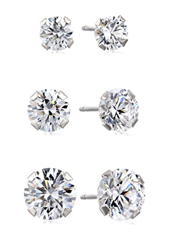Jewelili 10kt White Gold Three Stud Earrings Set with Round Cut Swarovski Zirconia, 3.5cttw