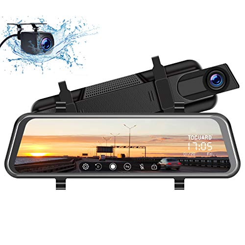 TOGUARD Backup Camera 10' Mirror Dash Cam, Dash Cam Front and Rear Full Touch Screen Video Streaming Rear View Mirror Camera, Night Vision Waterproof 1080P Rear Camera
