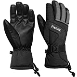 FREETOO Men's Ski Gloves High Breathable TPU Waterproof Membrane 340g Soft Cotton Warm Snowboard Gloves for Skiing Snowboarding (L)