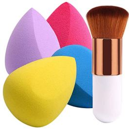 BEAKEY 4+1Pcs Makeup Sponges with Powder Brush, Foundation Blending Sponge for Liquid Cream and Powder, Professional…