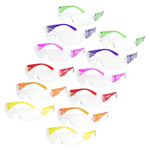 JORESTECH Eyewear Protective Safety Glasses, Polycarbonate Impact Resistant Lens Pack of 12 (Multi-Colors)