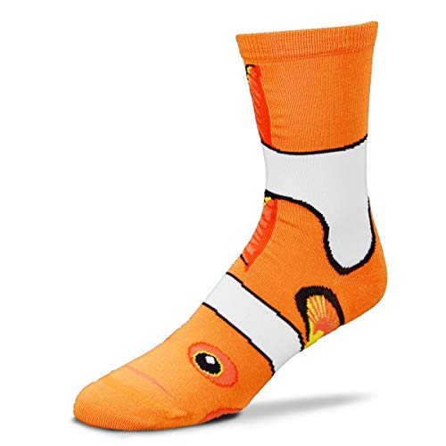 For Bare Feet Originals Novelty Crew Sock - Clown Fish Sock Puppet; Medium. Comes with a Helicase Sock Ring