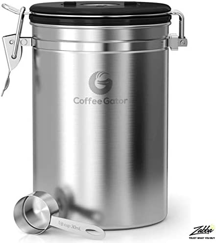 Coffee Gator Stainless Steel Coffee Grounds and Beans Container Canister with Date-Tracker, CO2-Release Valve and Measuring Scoop, Large, Silver