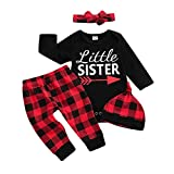 Baby Girl Clothes Newborn Romper Little Sister Onesie Bodysuit Red Plaid Pants Set Hat Bow Headband 4pcs Infant Toddler Outfits