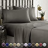 HC Collection Bed Sheet & Pillowcase Set HOTEL LUXURY 1800 Series Egyptian Quality Bedding Collection! Deep Pocket, Wrinkle & Fade Resistant,Luxurious,Comfortable,Extremely Durable(Queen, Grey)