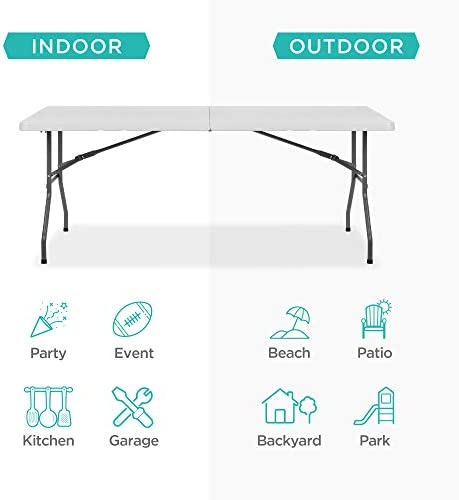 Best Choice Products 6ft Indoor Outdoor Heavy Duty Portable Folding Plastic Dining Table w/Handle, Lock for Picnic, Party, Camping - White 3