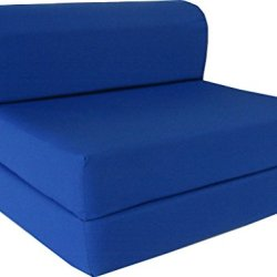 D&D Futon Furniture Royal Blue Sleeper Chair Folding Foam Bed Sized 6″ Thick X 32″ Wide X 70″ Long, Studio Guest Foldable Chair Beds, Foam Sofa, Couch, High Density Foam 1.8 Pounds.